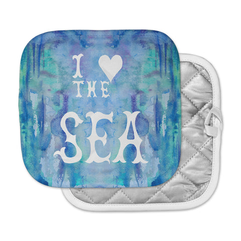 "Catherine Holcombe ""I Love The Sea 2"" Blue Teal Pot Holder"