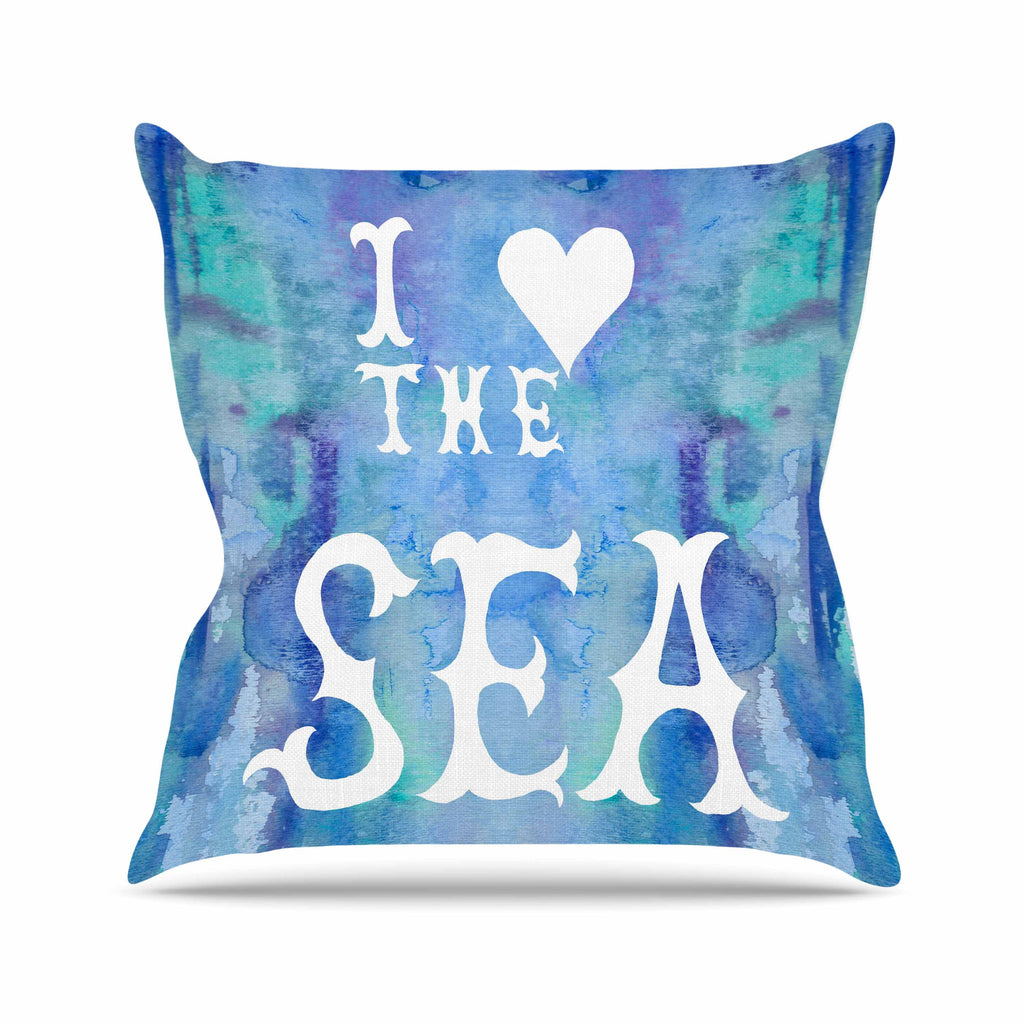 "Catherine Holcombe ""I Love The Sea 2"" Blue Teal Outdoor Throw Pillow - KESS InHouse  - 1"