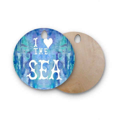 "Catherine Holcombe ""I Love The Sea 2"" Blue Teal Round Wooden Cutting Board"