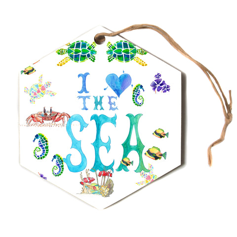 "Catherine Holcombe ""I Love The Sea"" Ocean Typography Hexagon Holiday Ornament"