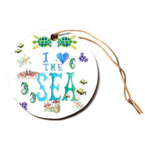 "Catherine Holcombe ""I Love The Sea"" Ocean Typography Circle Holiday Ornament"