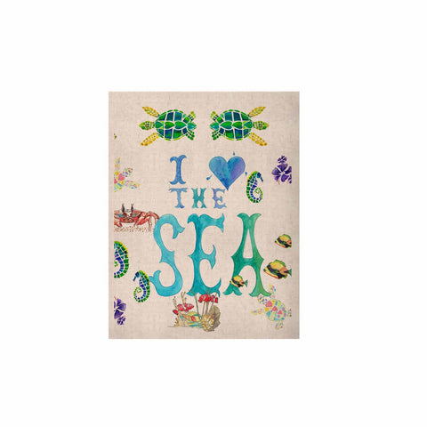 "Catherine Holcombe ""I Love The Sea"" Ocean Typography KESS Naturals Canvas (Frame not Included) - KESS InHouse  - 1"