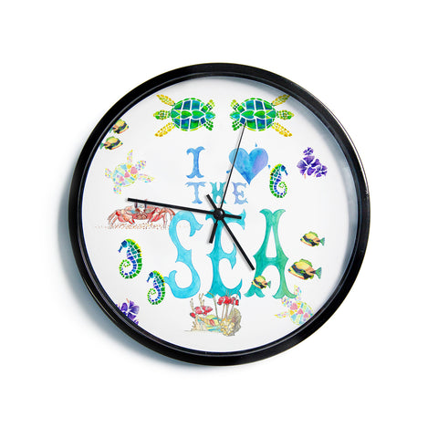 "Catherine Holcombe ""I Love The Sea"" Ocean Typography Modern Wall Clock"