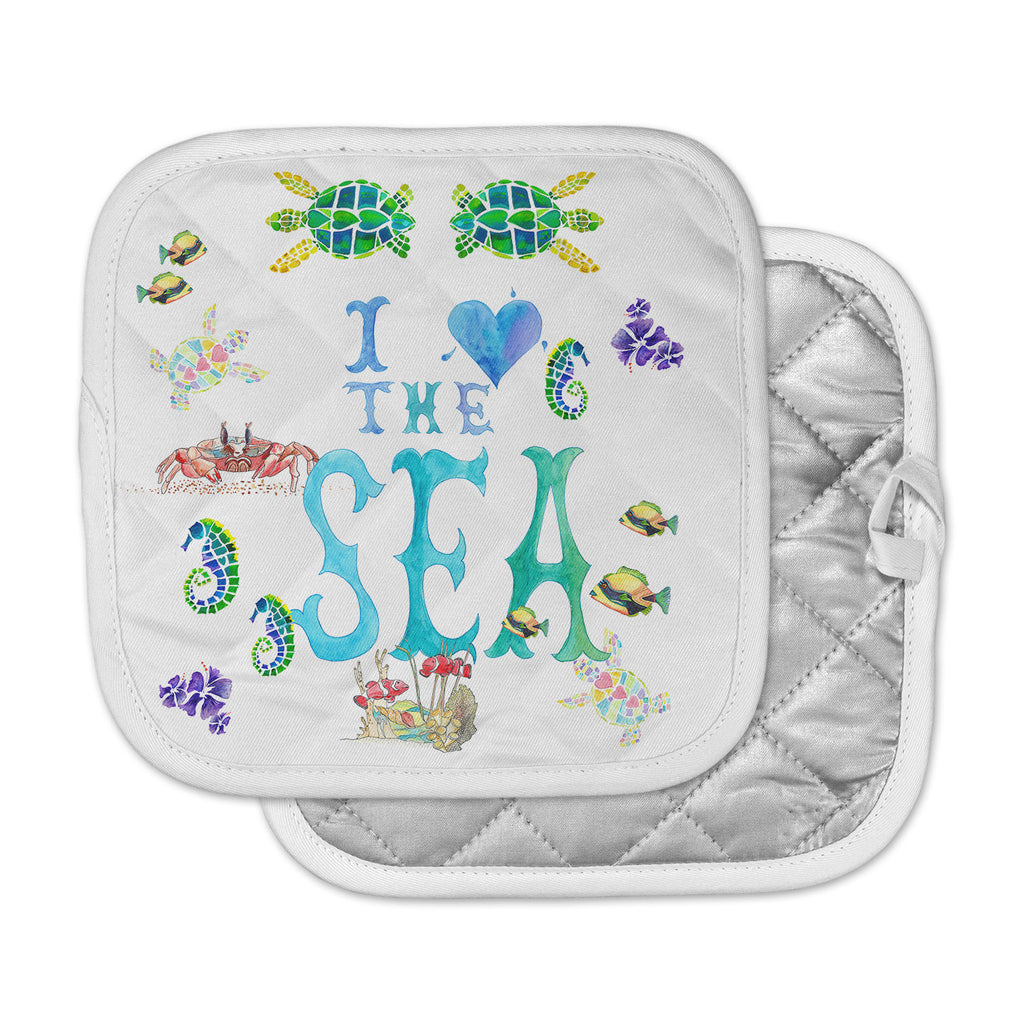 "Catherine Holcombe ""I Love The Sea"" Ocean Typography Pot Holder"