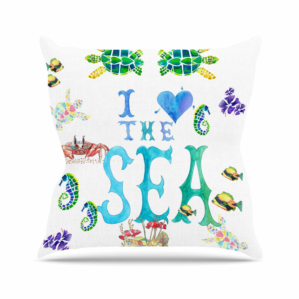 "Catherine Holcombe ""I Love The Sea"" Ocean Typography Outdoor Throw Pillow - KESS InHouse  - 1"