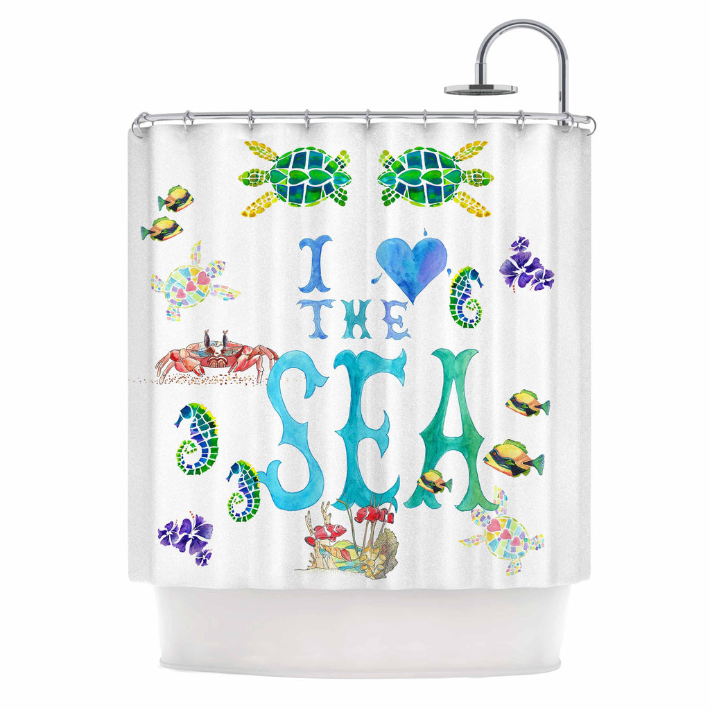 "Catherine Holcombe ""I Love The Sea"" Ocean Typography Shower Curtain - KESS InHouse"