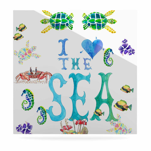 "Catherine Holcombe ""I Love The Sea"" Ocean Typography Luxe Square Panel - KESS InHouse  - 1"