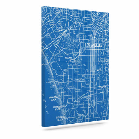 "Catherine Holcombe ""Los Angeles Streets"" Blue Map Canvas Art - KESS InHouse  - 1"