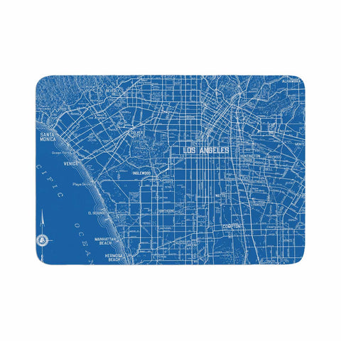 "Catherine Holcombe ""Los Angeles Streets"" Blue Map Memory Foam Bath Mat - KESS InHouse"
