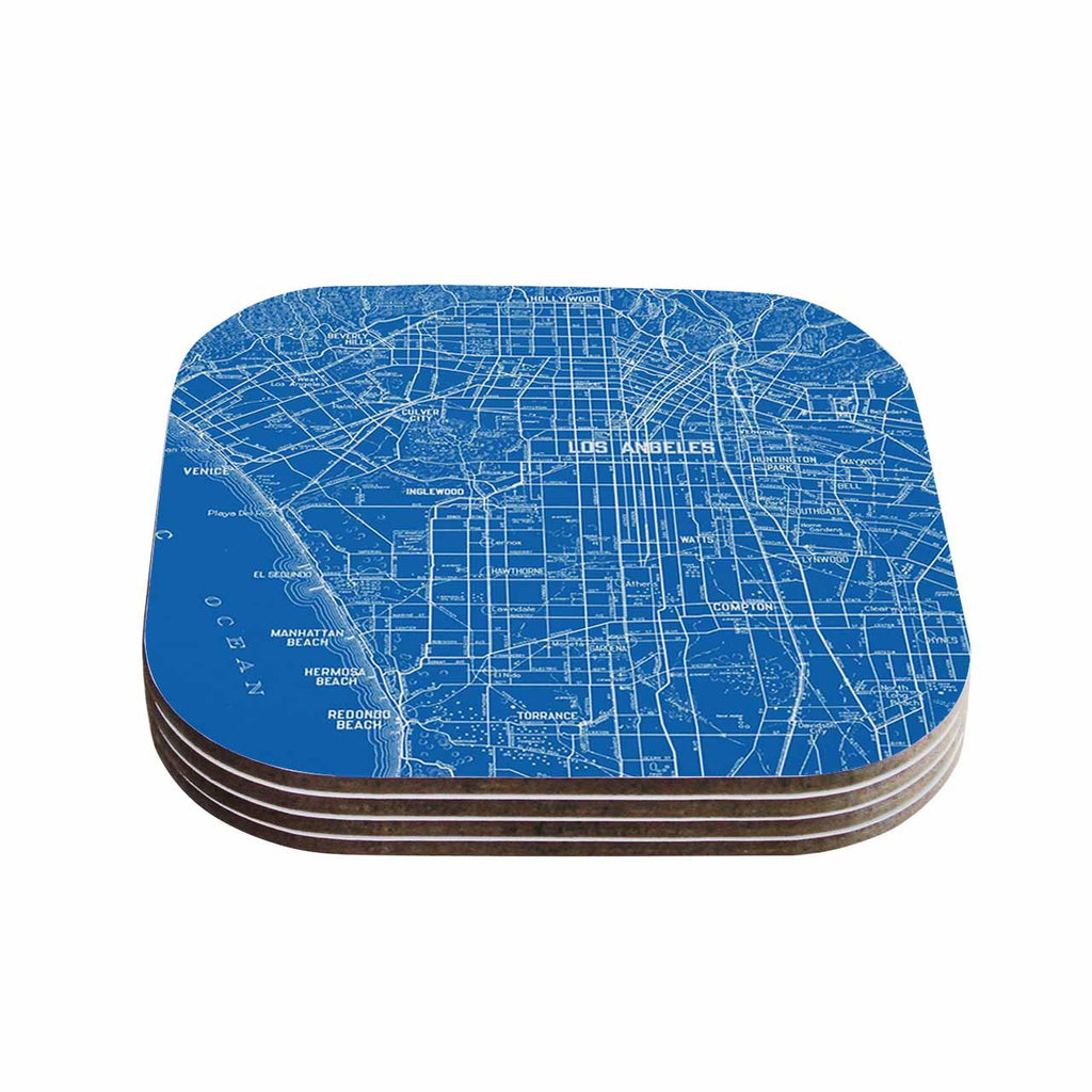 "Catherine Holcombe ""Los Angeles Streets"" Blue Map Coasters (Set of 4)"