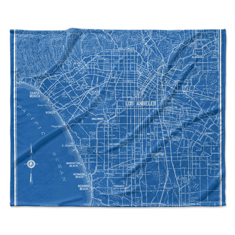 "Catherine Holcombe ""Los Angeles Streets"" Blue Map Fleece Throw Blanket"
