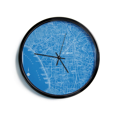 "Catherine Holcombe ""Los Angeles Streets"" Blue Map Modern Wall Clock"