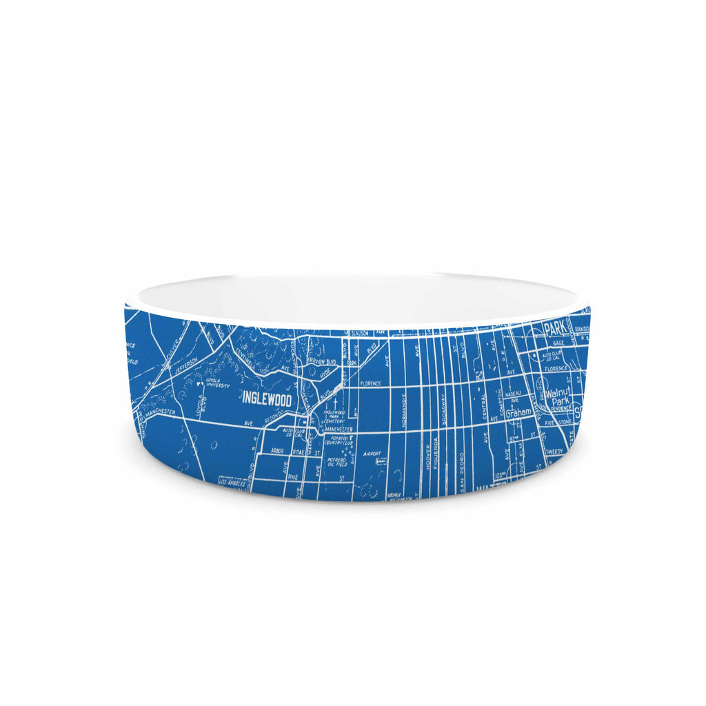 "Catherine Holcombe ""Los Angeles Streets"" Blue Map Pet Bowl - KESS InHouse"