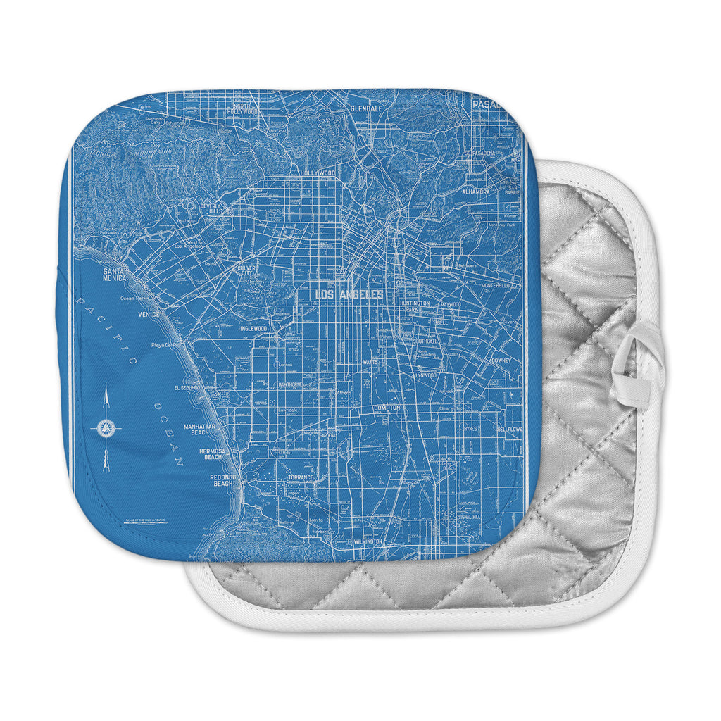 "Catherine Holcombe ""Los Angeles Streets"" Blue Map Pot Holder"