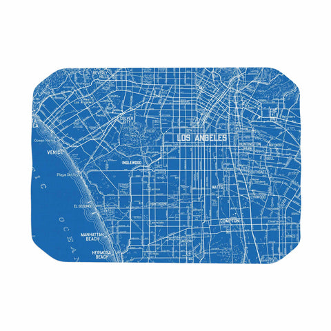 "Catherine Holcombe ""Los Angeles Streets"" Blue Map Place Mat - KESS InHouse"
