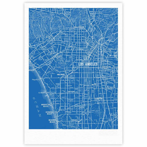 "Catherine Holcombe ""Los Angeles Streets"" Blue Map Fine Art Gallery Print - KESS InHouse"