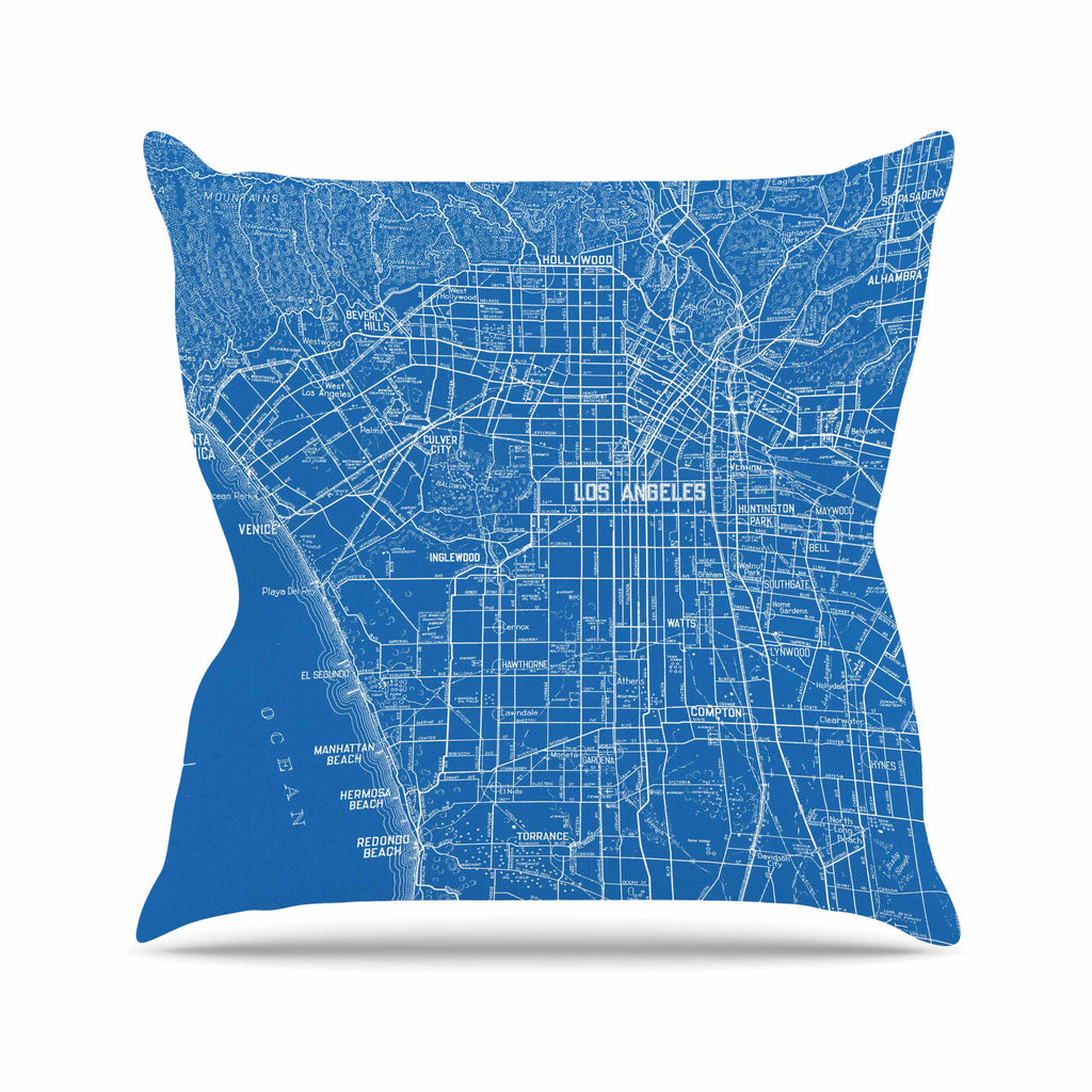 "Catherine Holcombe ""Los Angeles Streets"" Blue Map Outdoor Throw Pillow - KESS InHouse  - 1"