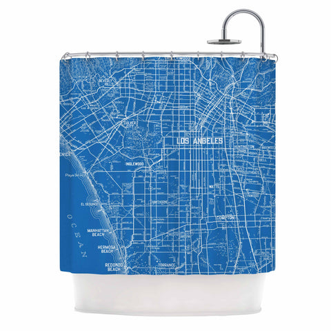 "Catherine Holcombe ""Los Angeles Streets"" Blue Map Shower Curtain - KESS InHouse"