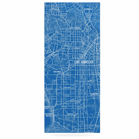 "Catherine Holcombe ""Los Angeles Streets"" Blue Map Luxe Rectangle Panel - KESS InHouse  - 1"