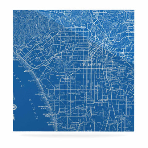 "Catherine Holcombe ""Los Angeles Streets"" Blue Map Luxe Square Panel - KESS InHouse  - 1"