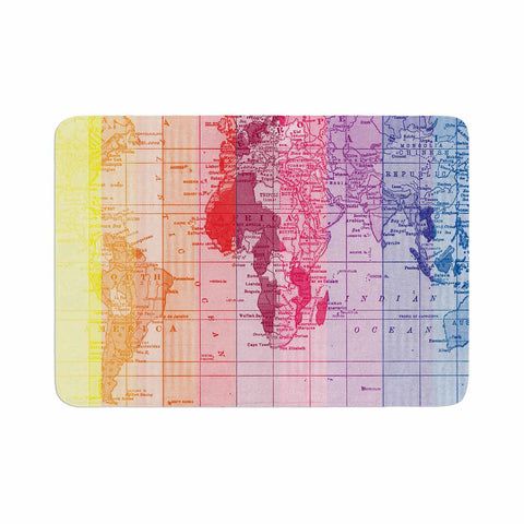 "Catherine Holcombe ""Rainbow World Map"" Multicolor Travel Memory Foam Bath Mat - KESS InHouse"