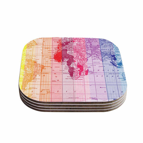 "Catherine Holcombe ""Rainbow World Map"" Multicolor Travel Coasters (Set of 4)"