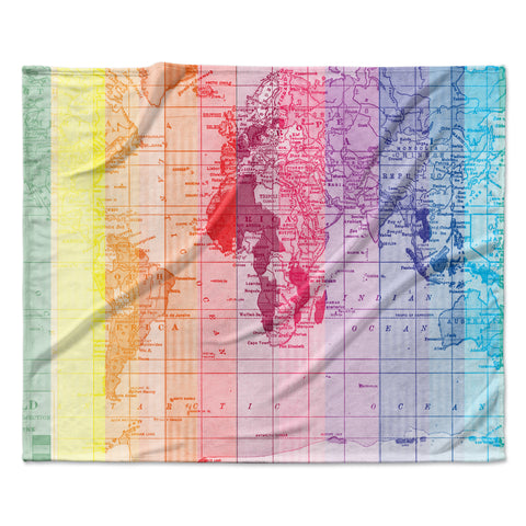 "Catherine Holcombe ""Rainbow World Map"" Multicolor Travel Fleece Throw Blanket"