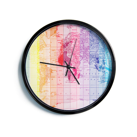 "Catherine Holcombe ""Rainbow World Map"" Multicolor Travel Modern Wall Clock"