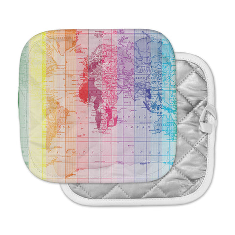 "Catherine Holcombe ""Rainbow World Map"" Multicolor Travel Pot Holder"
