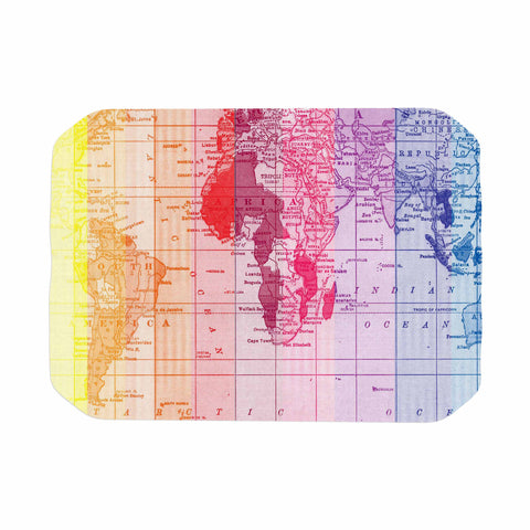 "Catherine Holcombe ""Rainbow World Map"" Multicolor Travel Place Mat - KESS InHouse"