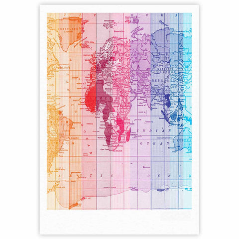 "Catherine Holcombe ""Rainbow World Map"" Multicolor Travel Fine Art Gallery Print - KESS InHouse"