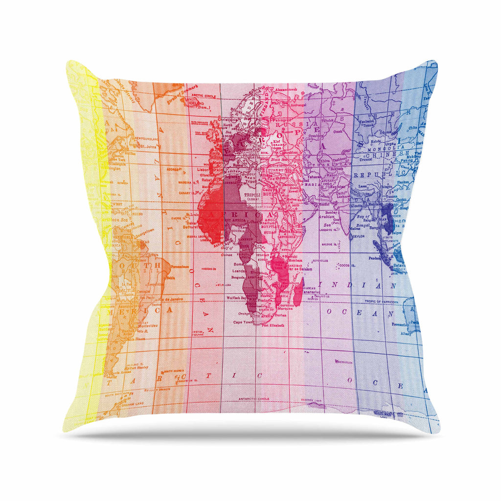 "Catherine Holcombe ""Rainbow World Map"" Multicolor Travel Outdoor Throw Pillow - KESS InHouse  - 1"