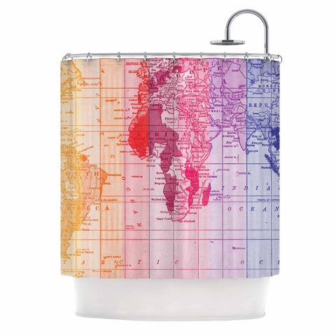 "Catherine Holcombe ""Rainbow World Map"" Multicolor Travel Shower Curtain - KESS InHouse"
