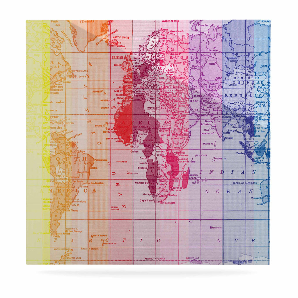 "Catherine Holcombe ""Rainbow World Map"" Multicolor Travel Luxe Square Panel - KESS InHouse  - 1"