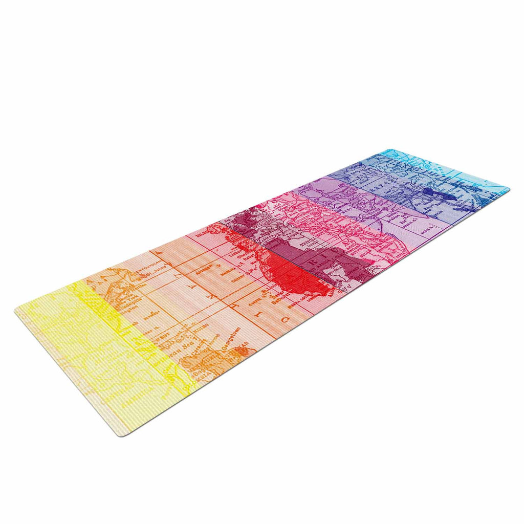 Rainbow world map yoga mat by catherine holcombe kess inhouse catherine holcombe rainbow world map multicolor travel yoga mat kess inhouse 1 gumiabroncs Gallery