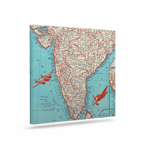 "Catherine Holcombe ""Travel To India"" Teal Red Canvas Art - KESS InHouse  - 1"