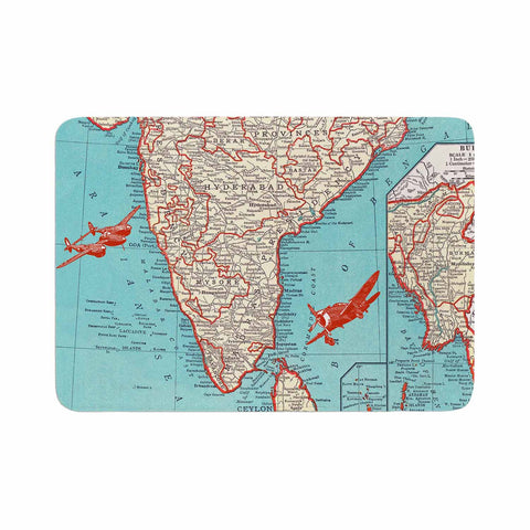 "Catherine Holcombe ""Travel To India"" Teal Red Memory Foam Bath Mat - KESS InHouse"