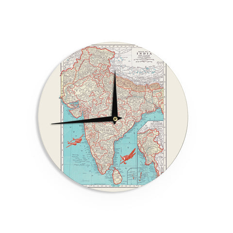 "Catherine Holcombe ""Travel To India"" Teal Red Wall Clock - KESS InHouse"