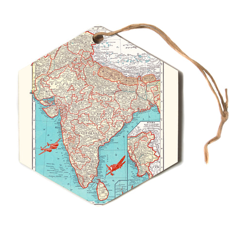 "Catherine Holcombe ""Travel To India"" Teal Red Hexagon Holiday Ornament"