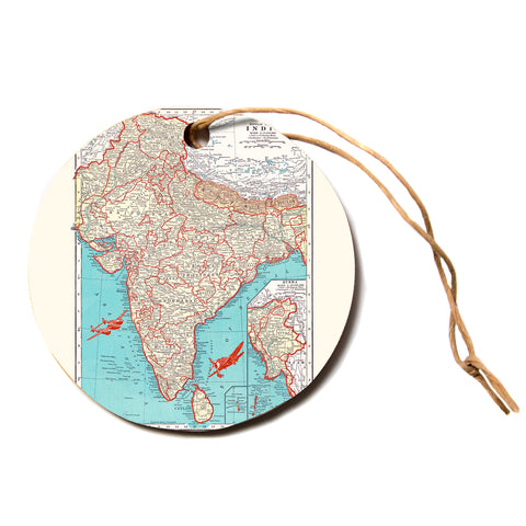 "Catherine Holcombe ""Travel To India"" Teal Red Circle Holiday Ornament"