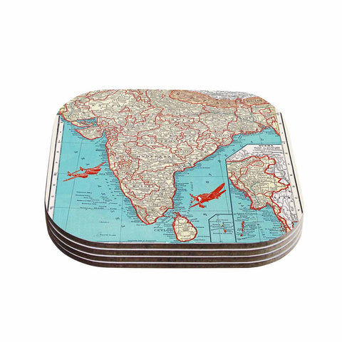"Catherine Holcombe ""Travel To India"" Teal Red Coasters (Set of 4)"