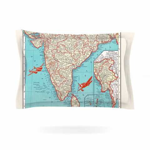 "Catherine Holcombe ""Travel To India"" Teal Red Pillow Sham - KESS InHouse  - 1"