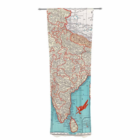 "Catherine Holcombe ""Travel To India"" Teal Red Decorative Sheer Curtain - KESS InHouse  - 1"