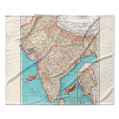 "Catherine Holcombe ""Travel To India"" Teal Red Fleece Throw Blanket"