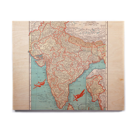 "Catherine Holcombe ""Travel To India"" Teal Red Birchwood Wall Art - KESS InHouse  - 1"