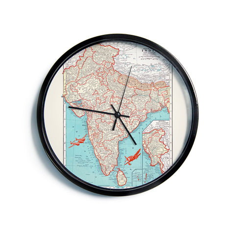 "Catherine Holcombe ""Travel To India"" Teal Red Modern Wall Clock"