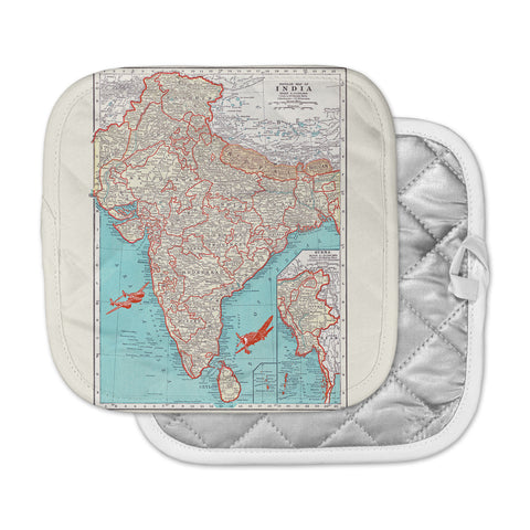 "Catherine Holcombe ""Travel To India"" Teal Red Pot Holder"