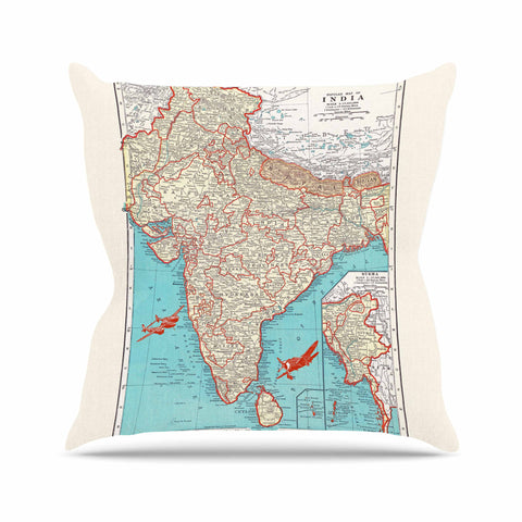 "Catherine Holcombe ""Travel To India"" Teal Red Outdoor Throw Pillow - KESS InHouse  - 1"