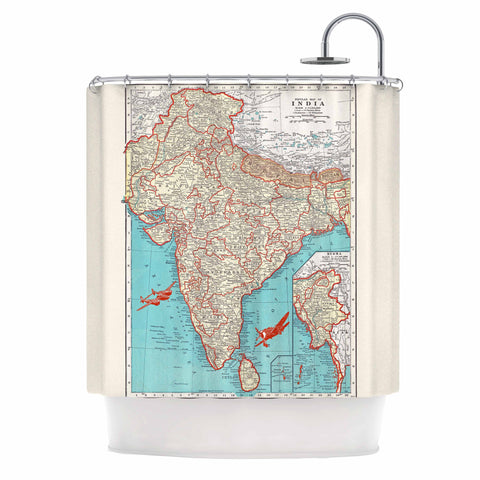 "Catherine Holcombe ""Travel To India"" Teal Red Shower Curtain - KESS InHouse"
