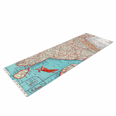 "Catherine Holcombe ""Travel To India"" Teal Red Yoga Mat - KESS InHouse  - 1"
